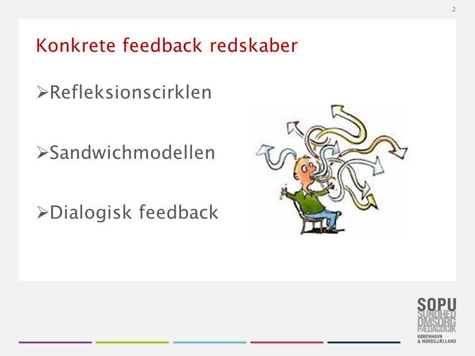 Tekstslide med bullets Brug 'Forøge / Formindske indryk' for at skifte mellem de forskellige niveauer Konkrete feedback redskaber  Refleksionscirklen  Sandwichmodellen  Dialogisk feedback 2