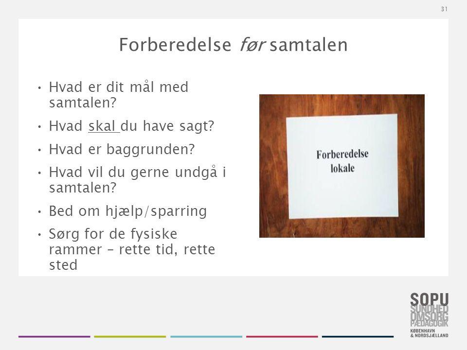 Tekstslide med bullets Brug 'Forøge / Formindske indryk' for at skifte mellem de forskellige niveauer Forberedelse før samtalen Hvad er dit mål med samtalen.