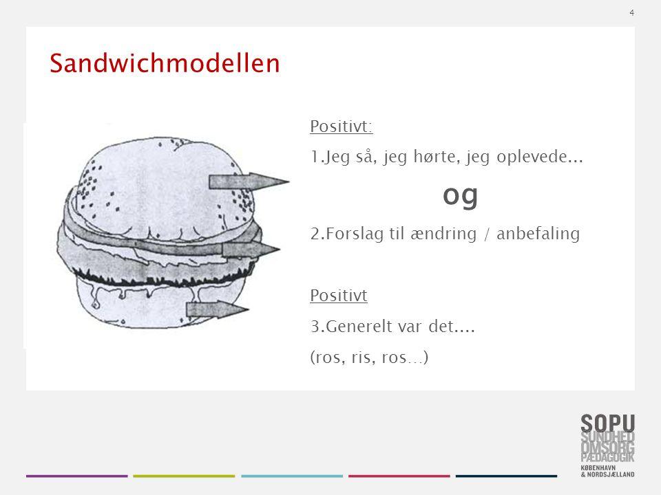 Tekstslide med bullets Brug 'Forøge / Formindske indryk' for at skifte mellem de forskellige niveauer Sandwichmodellen Positivt: 1.Jeg så, jeg hørte, jeg oplevede...
