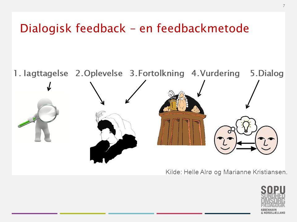 Tekstslide med bullets Brug 'Forøge / Formindske indryk' for at skifte mellem de forskellige niveauer Dialogisk feedback – en feedbackmetode 1.
