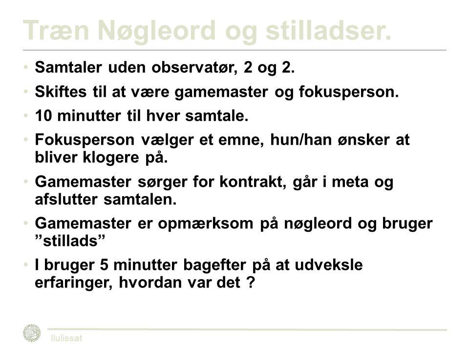 Træn Nøgleord og stilladser. Samtaler uden observatør, 2 og 2.