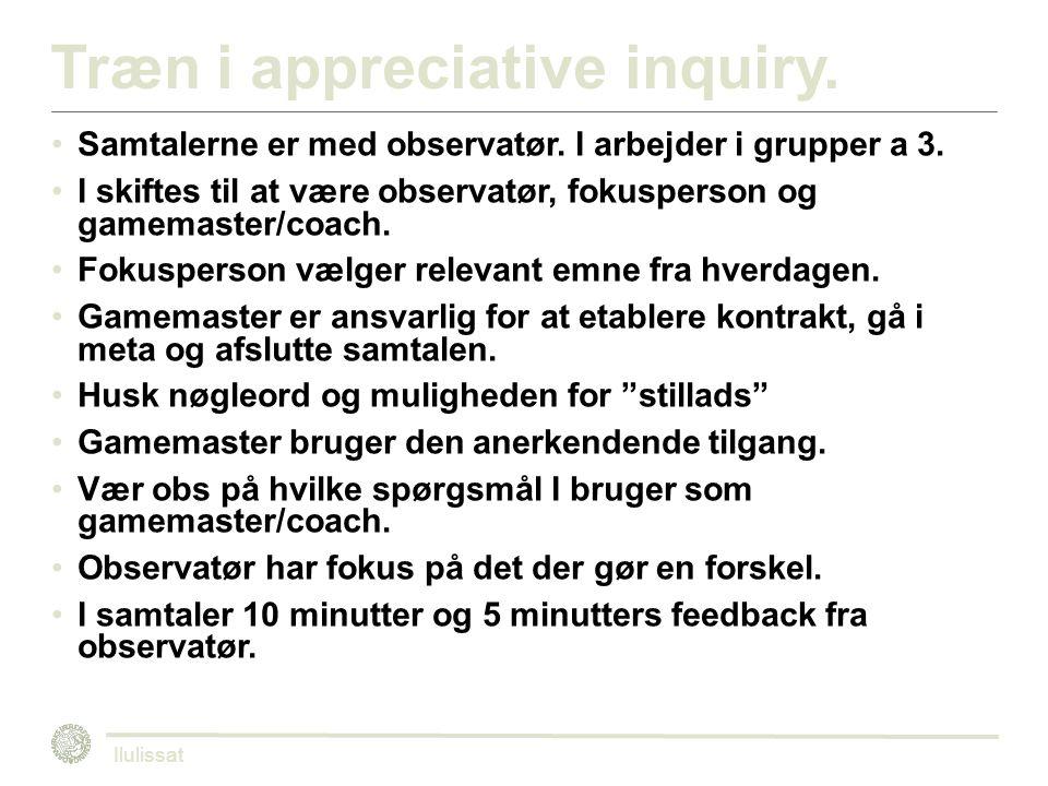Træn i appreciative inquiry. Samtalerne er med observatør.