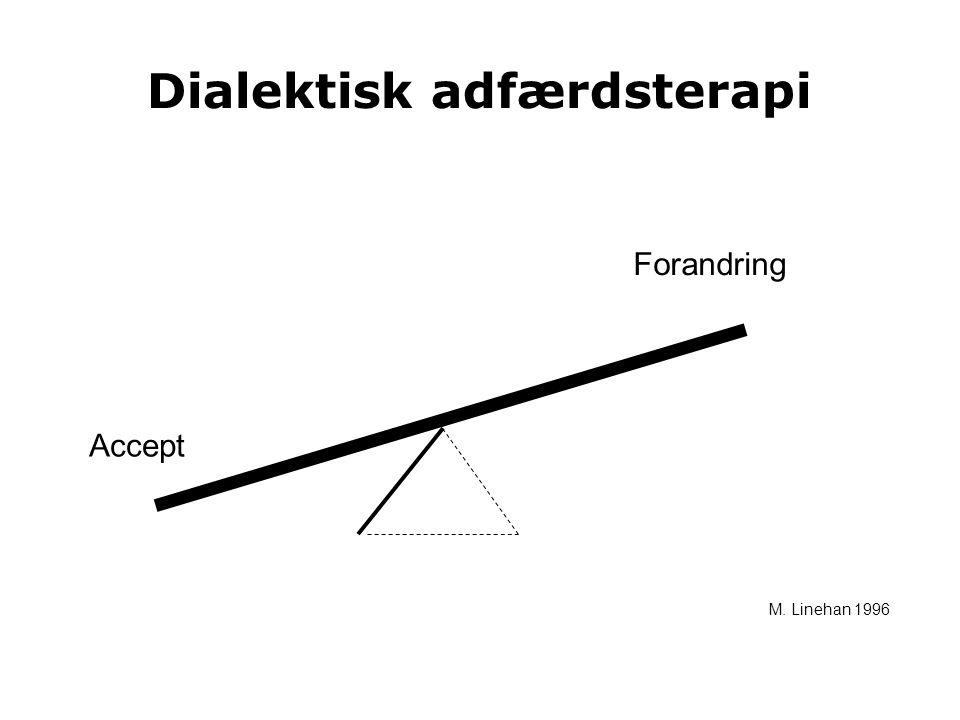 Dialektisk adfærdsterapi Accept Forandring M. Linehan 1996