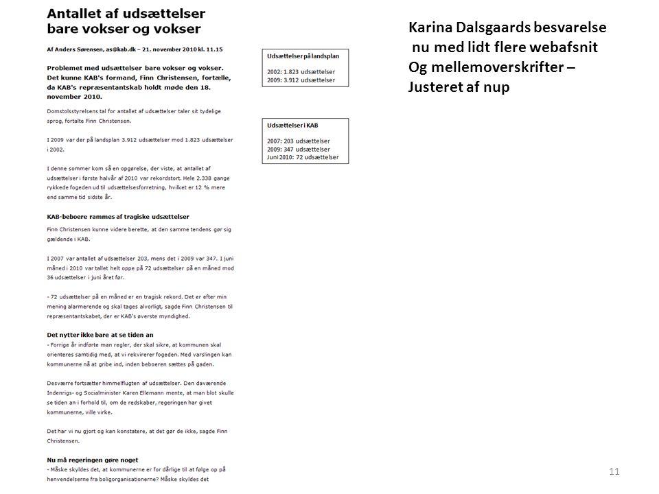 11 Karina Dalsgaards besvarelse nu med lidt flere webafsnit Og mellemoverskrifter – Justeret af nup