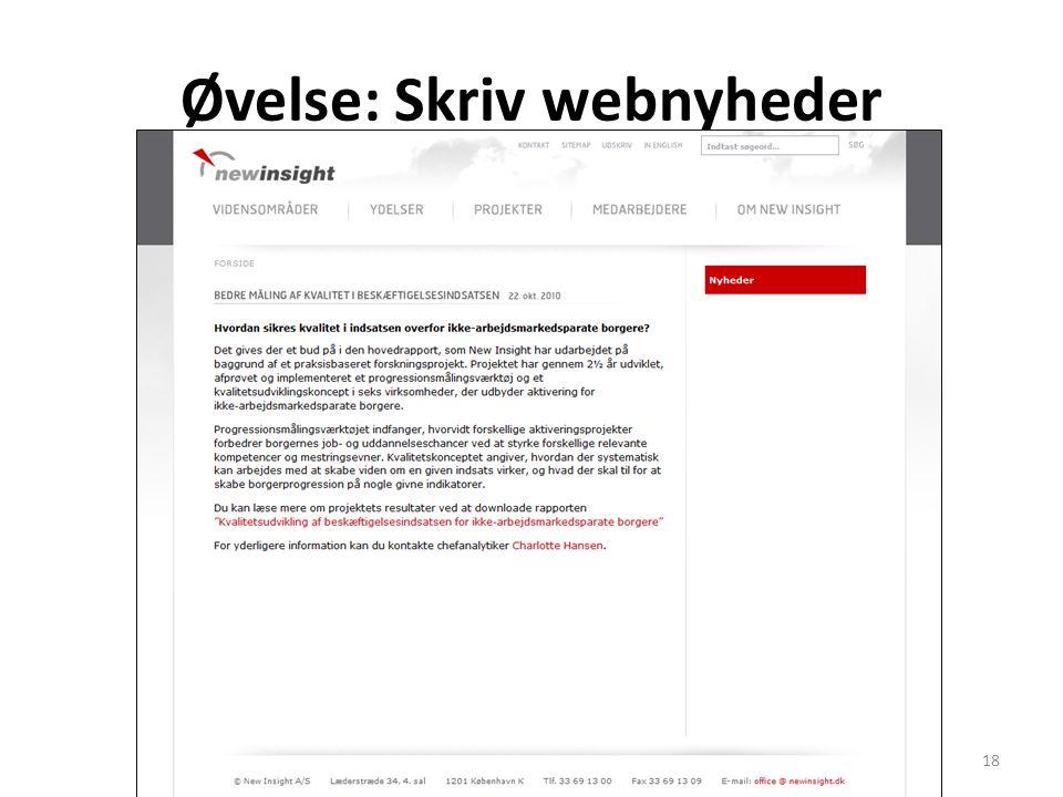Øvelse: Skriv webnyheder Drejebog webjournalistik18