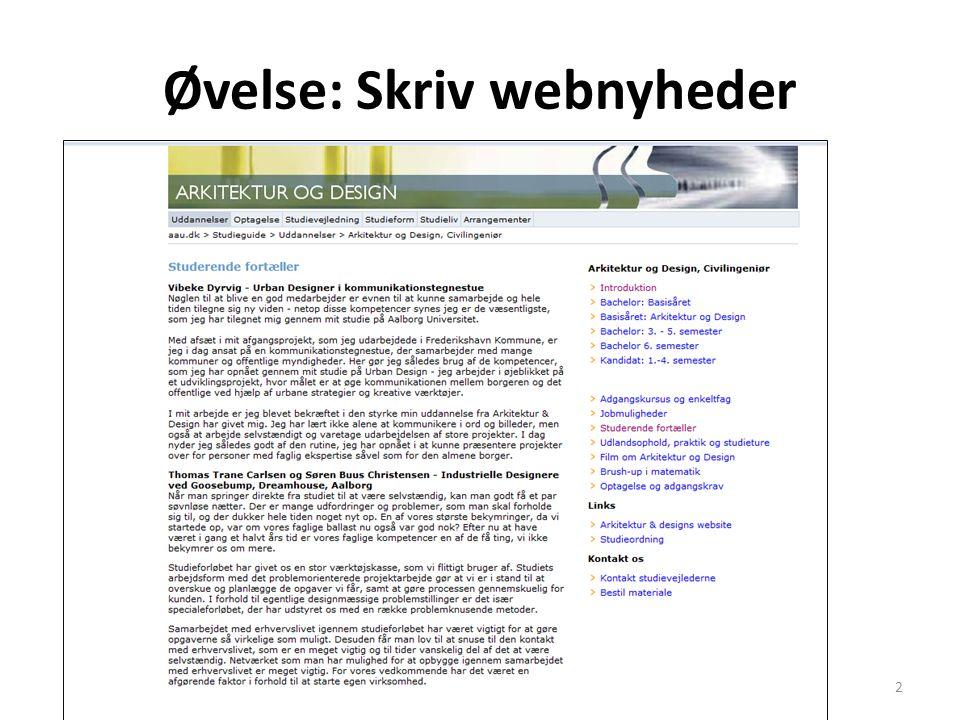 Øvelse: Skriv webnyheder Drejebog webjournalistik2