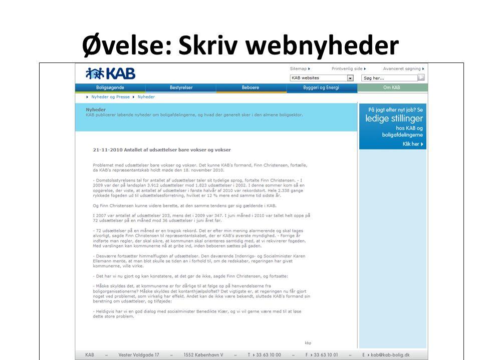 Øvelse: Skriv webnyheder Drejebog webjournalistik7