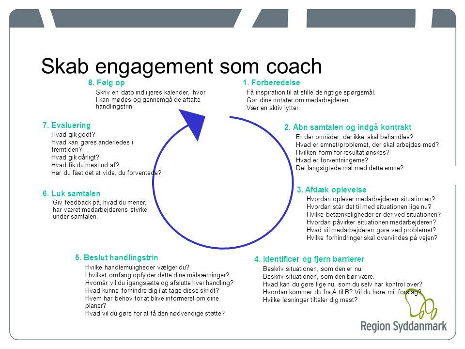 Fase 8: Følg op Skriv en dato ind i din kalender for, hvornår du skal følge op på medarbejderen Gennemgå de handlingstrin, I har besluttet, med medarbejderen Overvej, om en ny coachingsamtale er nødvendig