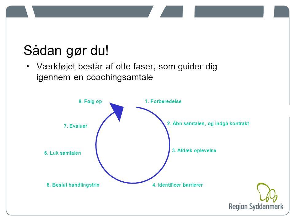 Sådan gør du.Værktøjet består af otte faser, som guider dig igennem en coachingsamtale 1.