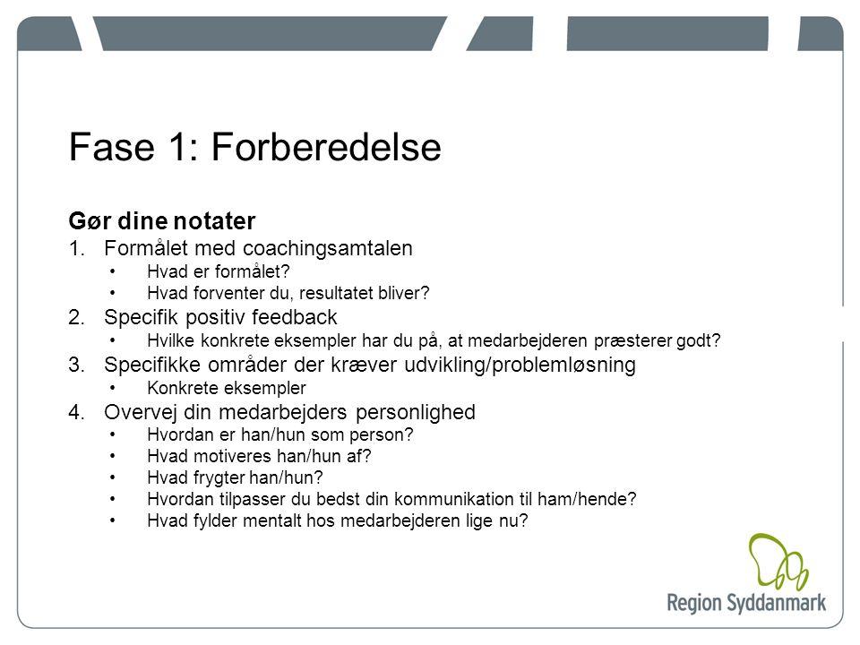 Fase 1: Forberedelse Gør dine notater 1.Formålet med coachingsamtalen Hvad er formålet.