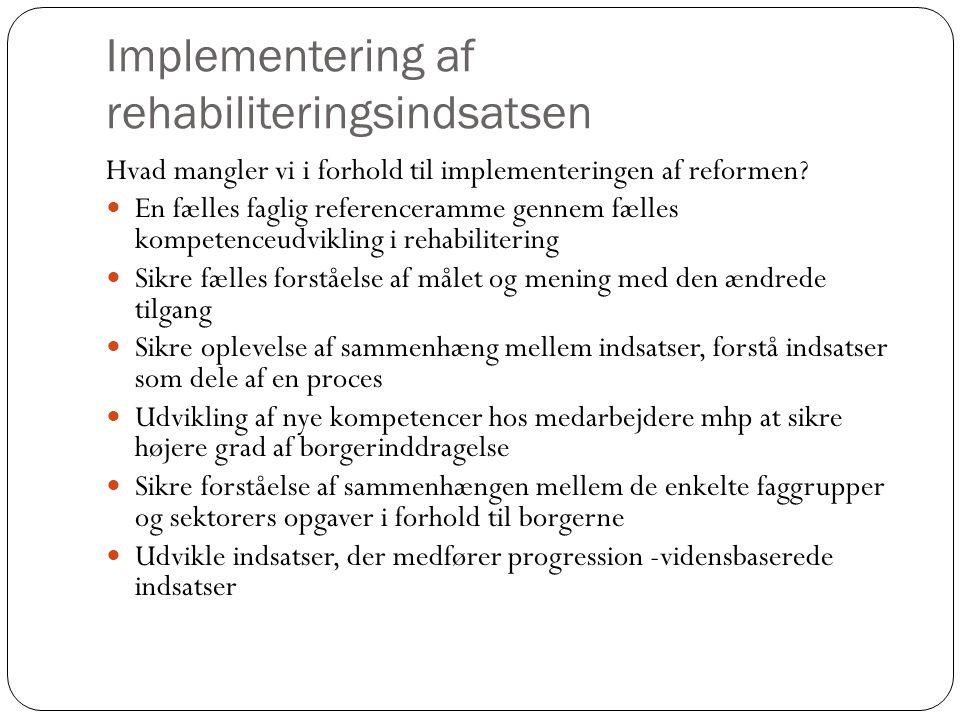 Implementering af rehabiliteringsindsatsen Hvad mangler vi i forhold til implementeringen af reformen.