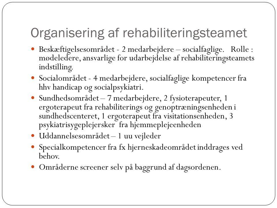 Organisering af rehabiliteringsteamet Beskæftigelsesområdet - 2 medarbejdere – socialfaglige.