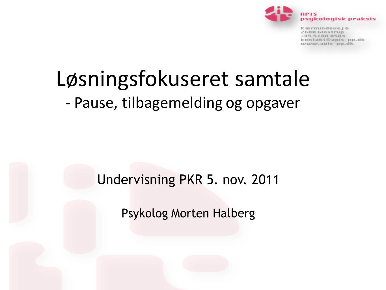 Løsningsfokuseret samtale - Pause, tilbagemelding og opgaver Undervisning PKR 5.
