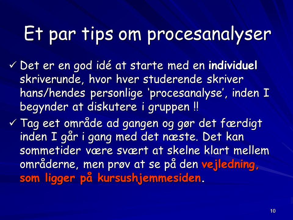 10 Et par tips om procesanalyser Det er en god idé at starte med en individuel skriverunde, hvor hver studerende skriver hans/hendes personlige 'procesanalyse', inden I begynder at diskutere i gruppen !.