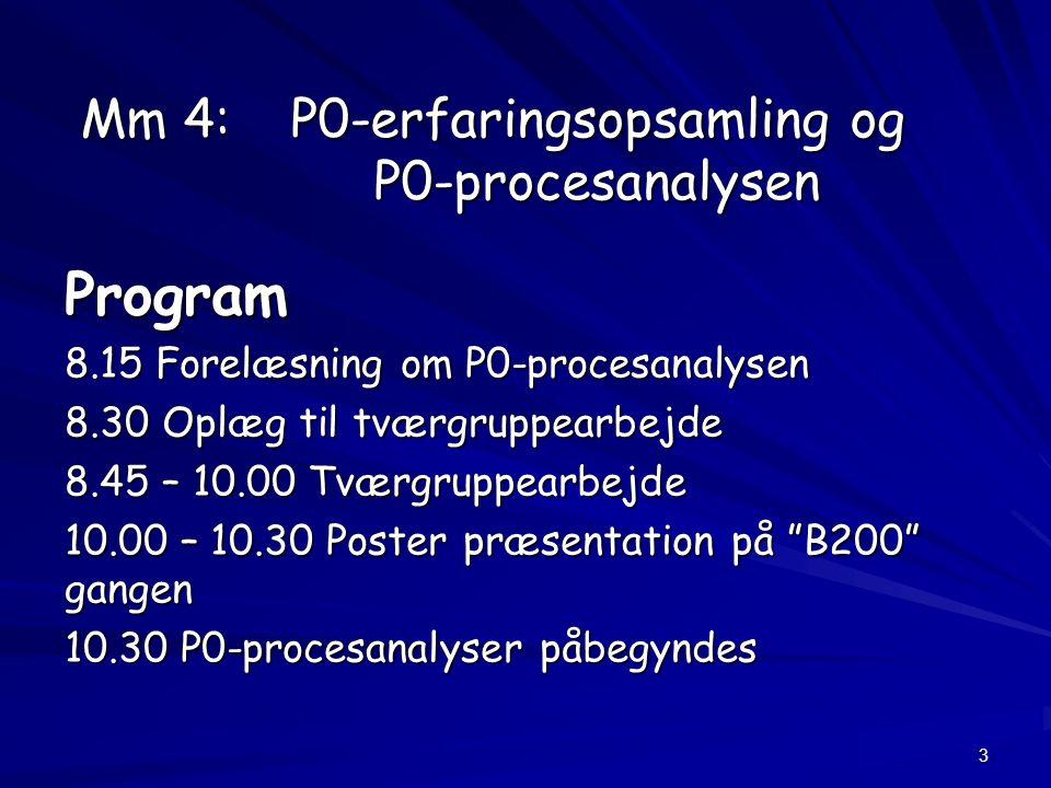 3 Mm 4: P0-erfaringsopsamling og P0-procesanalysen Program 8.15 Forelæsning om P0-procesanalysen 8.30 Oplæg til tværgruppearbejde 8.45 – 10.00 Tværgruppearbejde 10.00 – 10.30 Poster præsentation på B200 gangen 10.30 P0-procesanalyser påbegyndes