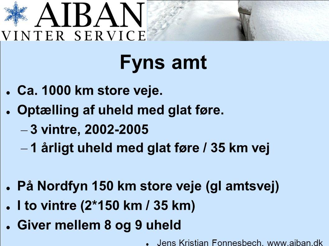 Fyns amt Ca. 1000 km store veje. Optælling af uheld med glat føre.