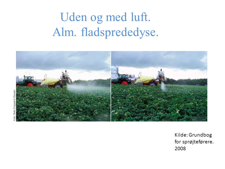 Uden og med luft. Alm. fladsprededyse. Kilde: Grundbog for sprøjteførere. 2008