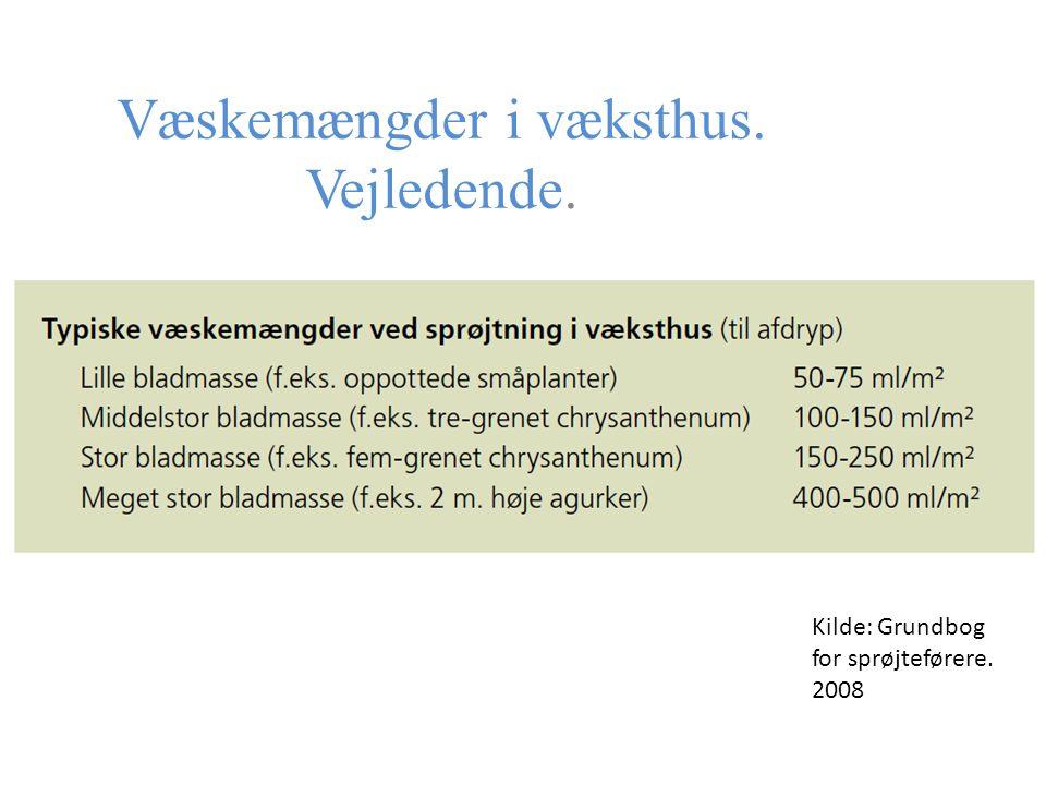 Væskemængder i væksthus. Vejledende. Kilde: Grundbog for sprøjteførere. 2008