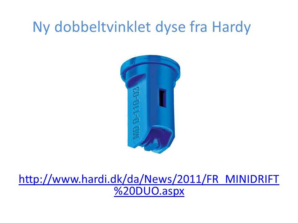 Ny dobbeltvinklet dyse fra Hardy http://www.hardi.dk/da/News/2011/FR_MINIDRIFT %20DUO.aspx