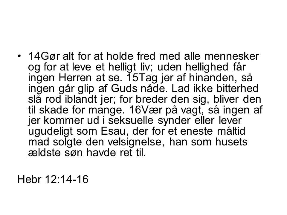 14Gør alt for at holde fred med alle mennesker og for at leve et helligt liv; uden hellighed får ingen Herren at se.