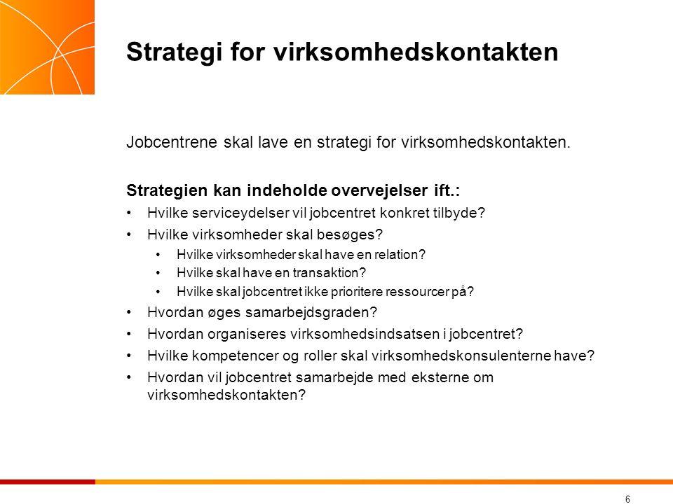 6 Strategi for virksomhedskontakten Jobcentrene skal lave en strategi for virksomhedskontakten.