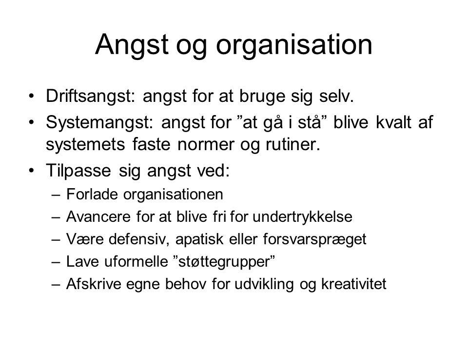 Angst og organisation Driftsangst: angst for at bruge sig selv.