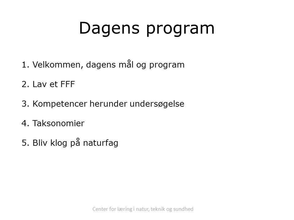 Center for læring i natur, teknik og sundhed Dagens program 1.Velkommen, dagens mål og program 2.Lav et FFF 3.Kompetencer herunder undersøgelse 4.Taksonomier 5.Bliv klog på naturfag