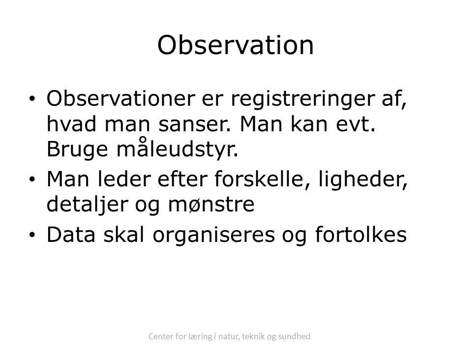Center for læring i natur, teknik og sundhed Observation Observationer er registreringer af, hvad man sanser.