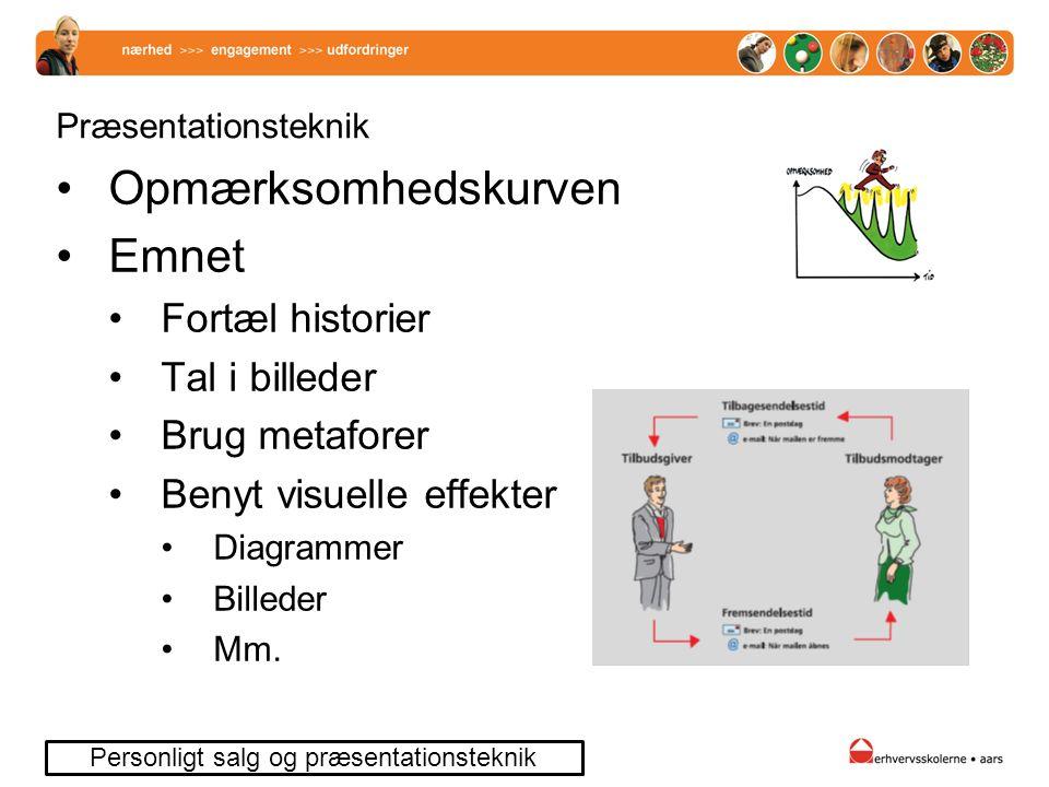 Præsentationsteknik Opmærksomhedskurven Emnet Fortæl historier Tal i billeder Brug metaforer Benyt visuelle effekter Diagrammer Billeder Mm.