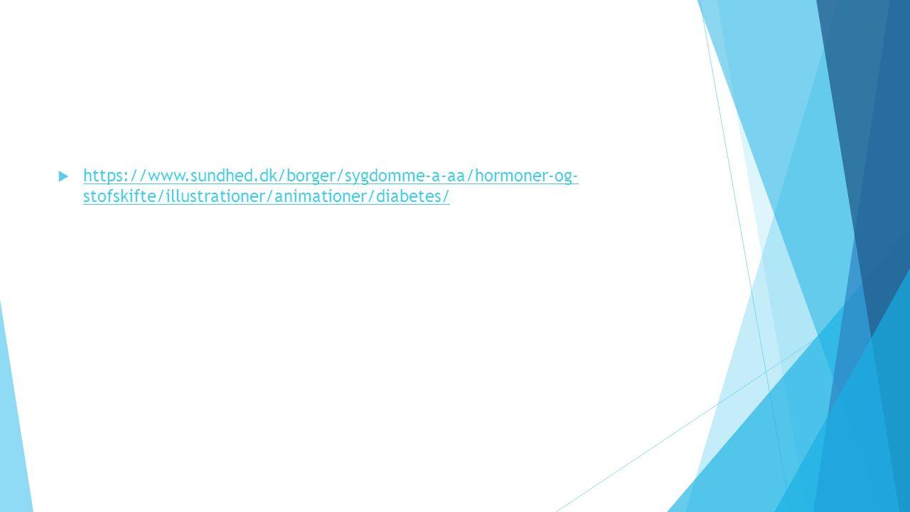  https://www.sundhed.dk/borger/sygdomme-a-aa/hormoner-og- stofskifte/illustrationer/animationer/diabetes/ https://www.sundhed.dk/borger/sygdomme-a-aa/hormoner-og- stofskifte/illustrationer/animationer/diabetes/