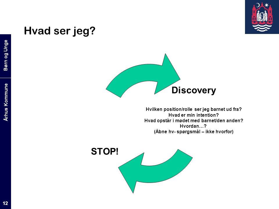 Børn og Unge Århus Kommune 12 Hvad ser jeg. Discovery Hvilken position/rolle ser jeg barnet ud fra.