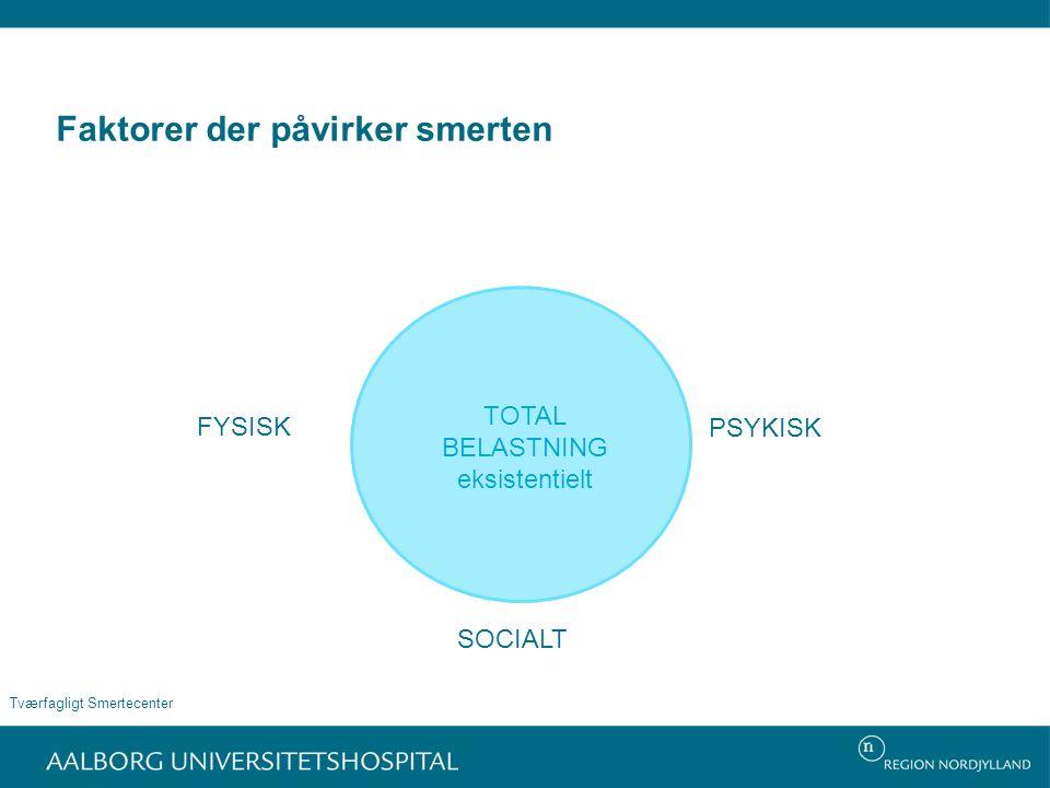 Faktorer der påvirker smerten Tværfagligt Smertecenter FYSISK PSYKISK SOCIALT TOTAL BELASTNING eksistentielt