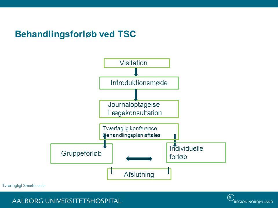 Behandlingsforløb ved TSC Visitation Journaloptagelse Lægekonsultation Introduktionsmøde Gruppeforløb Tværfagligt Smertecenter Individuelle forløb Tværfaglig konference Behandlingsplan aftales Afslutning