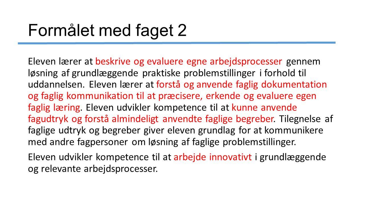 Formålet med faget 2 Eleven lærer at beskrive og evaluere egne arbejdsprocesser gennem løsning af grundlæggende praktiske problemstillinger i forhold til uddannelsen.