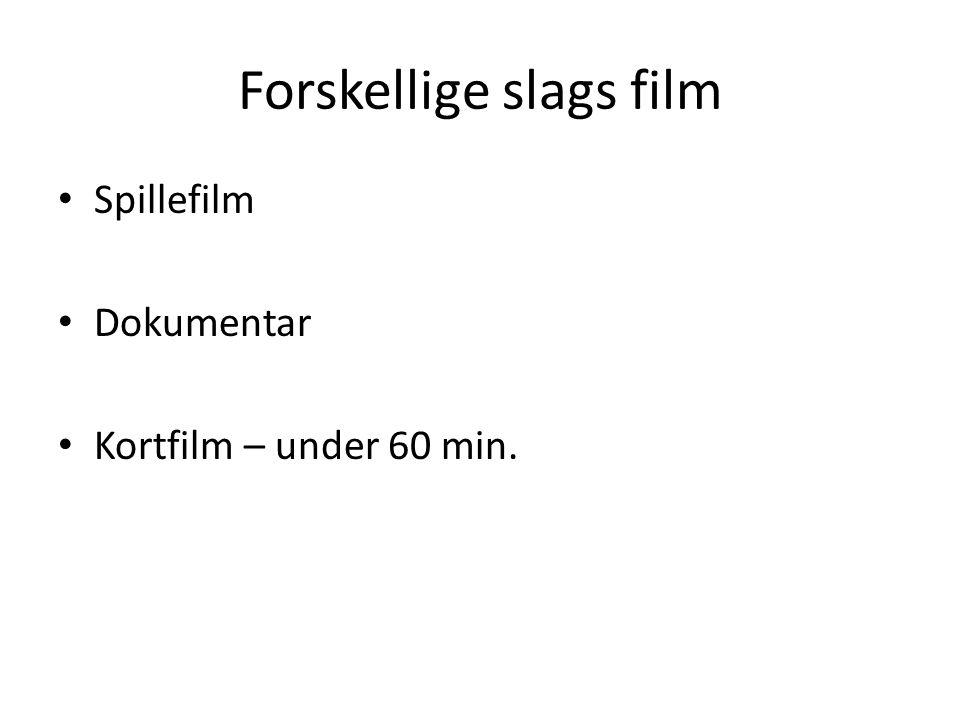 Forskellige slags film Spillefilm Dokumentar Kortfilm – under 60 min.