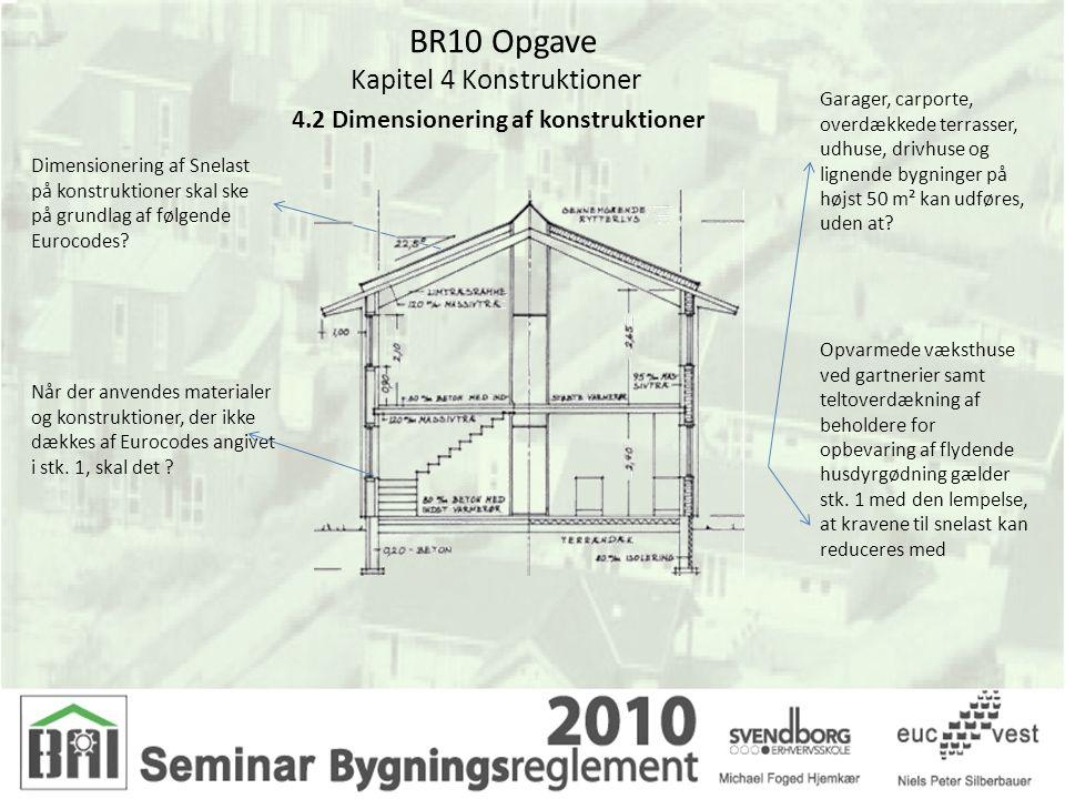 BR10 Opgave Kapitel 4 Konstruktioner 4.2 Dimensionering af konstruktioner Dimensionering af Snelast på konstruktioner skal ske på grundlag af følgende