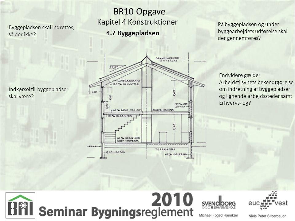 BR10 Opgave Kapitel 4 Konstruktioner 4.7 Byggepladsen Byggepladsen skal indrettes, så der ikke? Indkørsel til byggepladser skal være? På byggepladsen