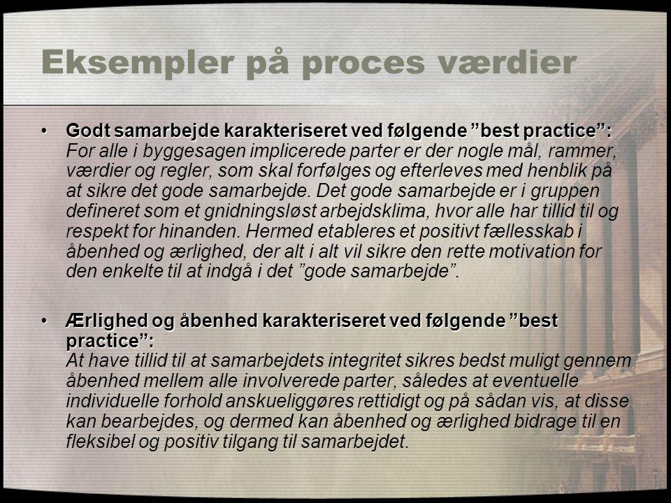 """Eksempler på proces værdier Godt samarbejde karakteriseret ved følgende """"best practice"""":Godt samarbejde karakteriseret ved følgende """"best practice"""": F"""