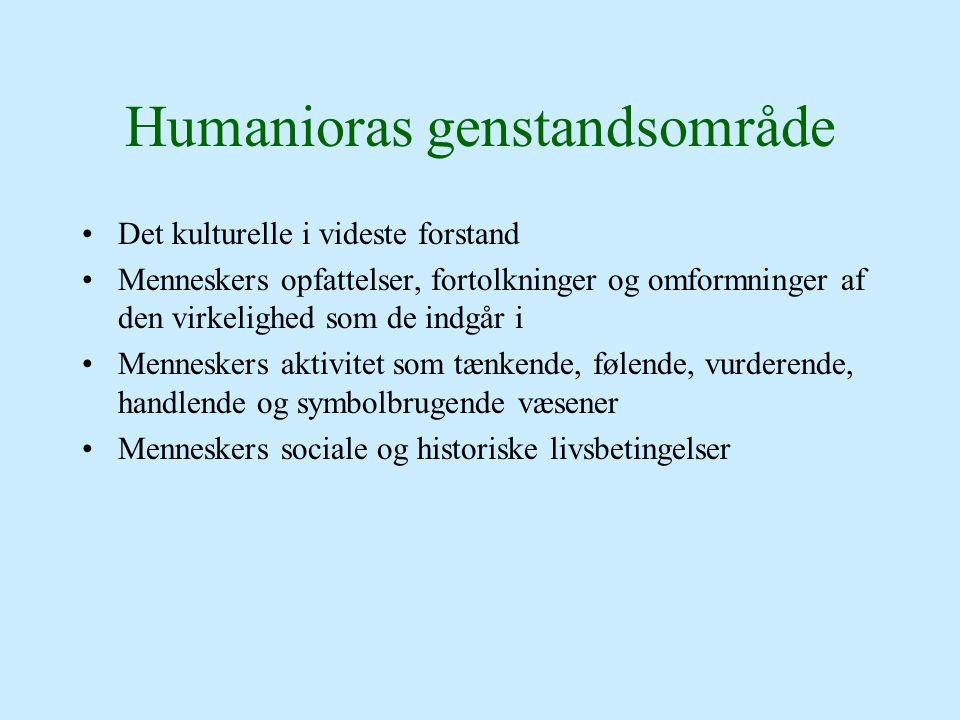 Humanioras genstandsområde Det kulturelle i videste forstand Menneskers opfattelser, fortolkninger og omformninger af den virkelighed som de indgår i Menneskers aktivitet som tænkende, følende, vurderende, handlende og symbolbrugende væsener Menneskers sociale og historiske livsbetingelser