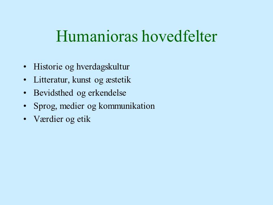 Humanioras hovedfelter Historie og hverdagskultur Litteratur, kunst og æstetik Bevidsthed og erkendelse Sprog, medier og kommunikation Værdier og etik