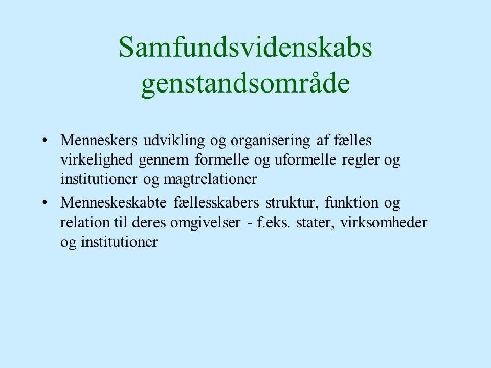 Samfundsvidenskabs genstandsområde Menneskers udvikling og organisering af fælles virkelighed gennem formelle og uformelle regler og institutioner og