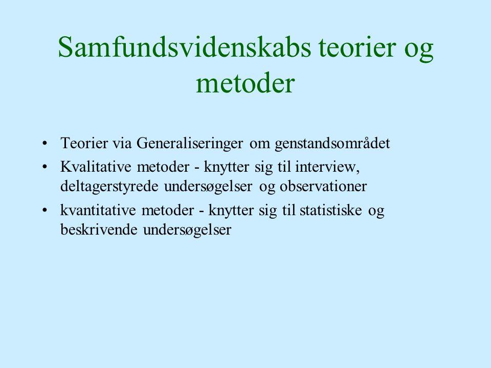 Samfundsvidenskabs teorier og metoder Teorier via Generaliseringer om genstandsområdet Kvalitative metoder - knytter sig til interview, deltagerstyred