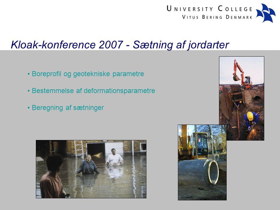 Kloak-konference 2007 - Sætning af jordarter Boreprofil og geotekniske parametre Bestemmelse af deformationsparametre Beregning af sætninger