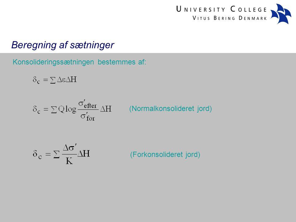 Beregning af sætninger Konsolideringssætningen bestemmes af: (Normalkonsolideret jord) (Forkonsolideret jord)