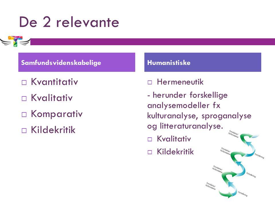 De 2 relevante  Kvantitativ  Kvalitativ  Komparativ  Kildekritik  Hermeneutik - herunder forskellige analysemodeller fx kulturanalyse, sproganalyse og litteraturanalyse.
