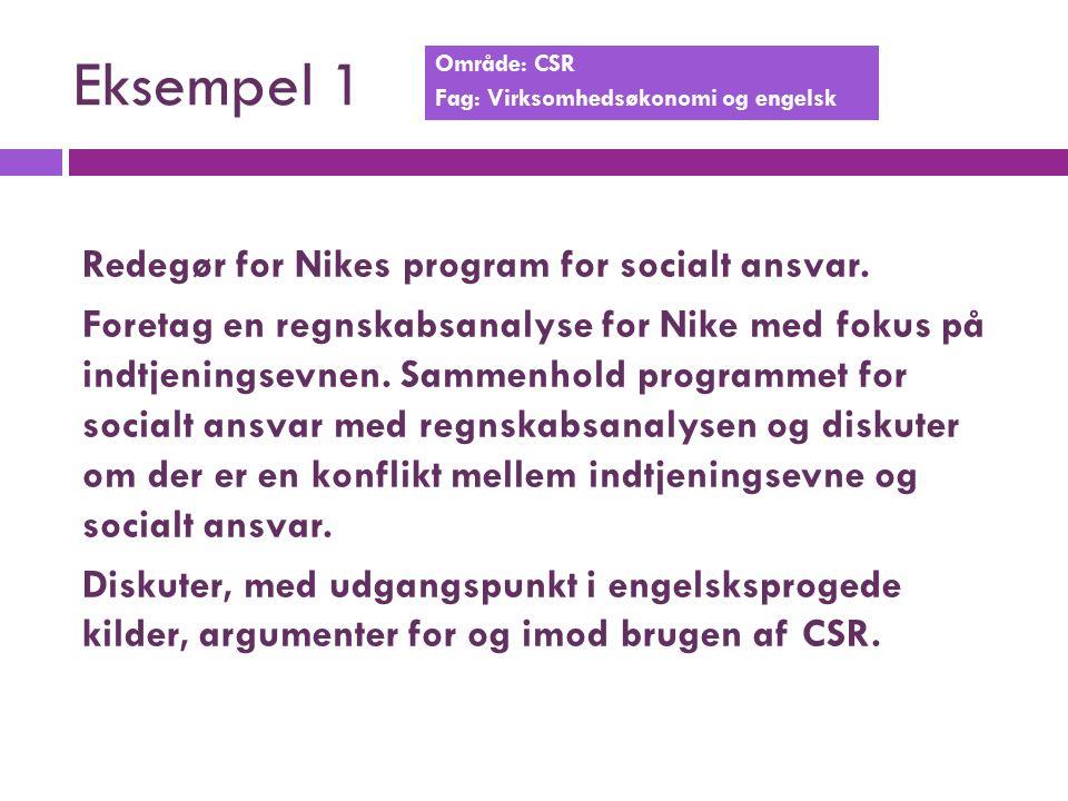 Eksempel 1 Område: CSR Fag: Virksomhedsøkonomi og engelsk Redegør for Nikes program for socialt ansvar.