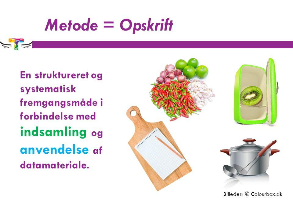 Metode = Opskrift En struktureret og systematisk fremgangsmåde i forbindelse med indsamling og anvendelse af datamateriale.
