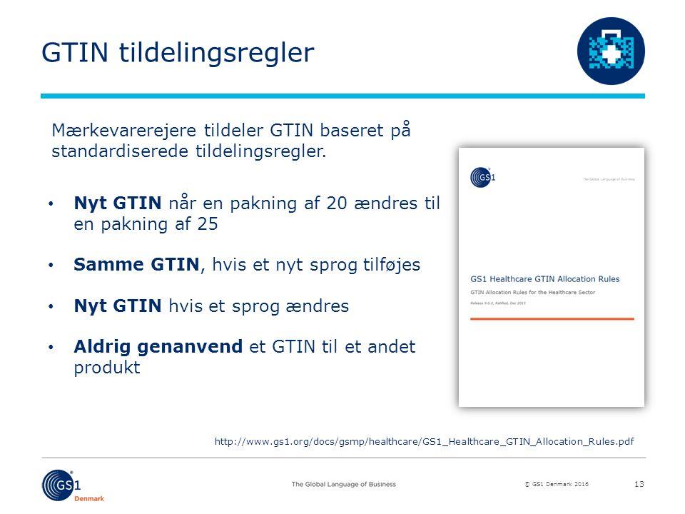 © GS1 Denmark 2016 GTIN tildelingsregler 13 Mærkevarerejere tildeler GTIN baseret på standardiserede tildelingsregler.