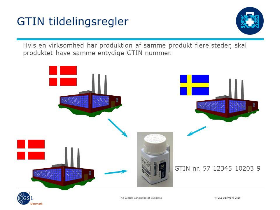 © GS1 Denmark 2016 Produktion i forskellige lande Hvis en virksomhed har produktion af samme produkt flere steder, skal produktet have samme entydige GTIN nummer.