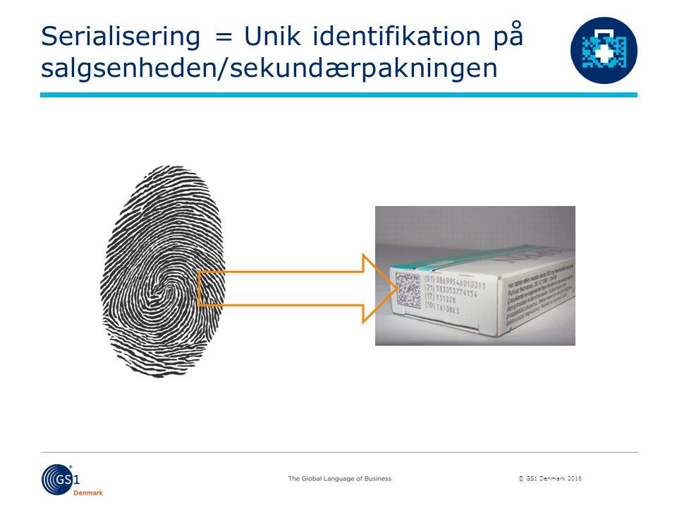 © GS1 Denmark 2016 Serialisering = Unik identifikation på salgsenheden/sekundærpakningen